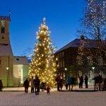 Austurvöllur Reykjavik in kerstsfeer