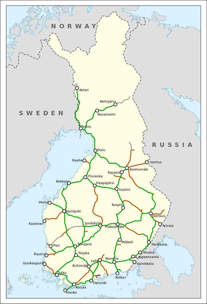 Finse Spoorlijnen Overzicht Spoorwegennet van Finland